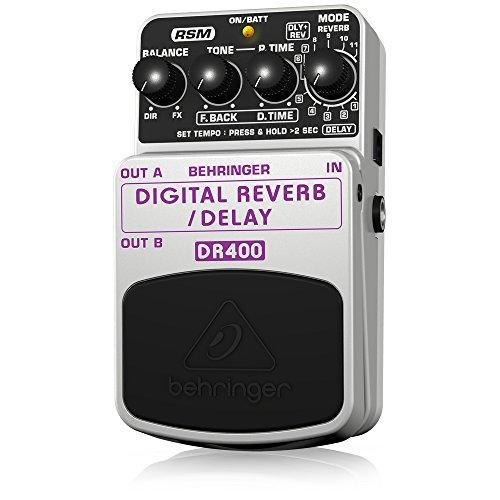 Behringer DR400 4033653052801 - Pedal de efecto eco/delay/reverb para guitarra, color plateado
