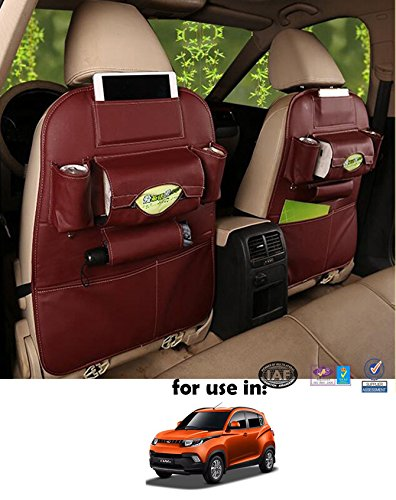 Volga Leatherette 3D Car Seat Organizer Wine Red One Pc For Mahindra Kuv 100
