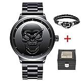 Reloj de Pulsera para Hombre, diseño de Calavera 3D Creativa, Color Negro, 30 m, Impermeable, Gran...