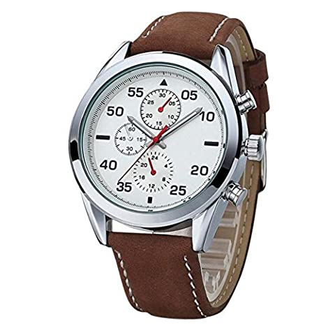Scrub Leather Strap Fashion Sports Men Watch Quartz Watch Three Small Dial Occasion Casual Alliage Rond,Brown2-OneSize