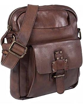 Handtasche Herrentasche Überschlagtasche Damentasche Leder braun stonebear original Laptoptasche Umhängetasche...