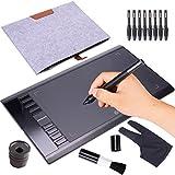 Grafiktablett PC / MAC, Ugee M708 drawing tablet 25,4 * 15,2cm, Zeichentablett mit Wiederaufladbarem Stift mit 9 Stiftspitze, 5080 LPI und 2048 Druckempfindlichkeitsstufen für Windows 10/8/7 Mac OS