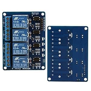Foxnovo 4-Kanal-DC 5V Safety Shield Modul-Relaiskarte mit Optokoppler für Arduino DSP AVR PIC ARM TTL Logik