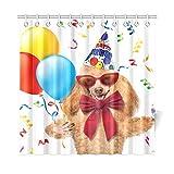 JOCHUAN Home Decor Bad Vorhang Geburtstag Hund Mit Luftballons Und EIN Cupcake Polyester Stoff Wasserdicht Duschvorhang Für Badezimmer, 72 X 72 Zoll Duschvorhänge Haken Enthalten