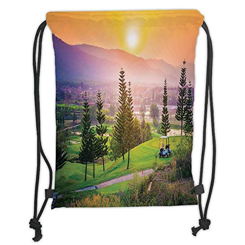 GONIESA Drawstring Sack Backpacks Bags,Farm House Decor,Vibrant Golf Resort Park in Spring Season with Trees Sunset Hills and Valley,Multi Soft Satin,5 Liter Capacity,Adjustable String Closure,