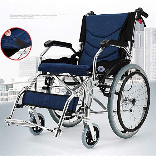 BUDAOWENG Sedia a rotelle Professionale di sanità, Sedia a rotelle automotore, Struttura Leggera e Pieghevole, Sedia a rotelle a propulsione Professionale, Sedia di Viaggio Portatile di transito,Blue