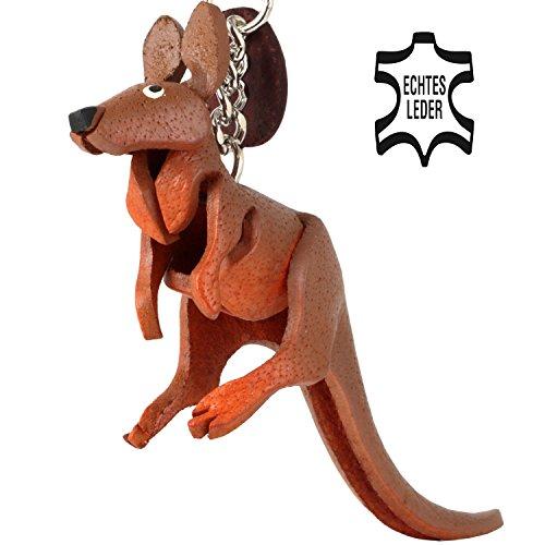5 Kleine Leder (Monkimau Känguru Sally Australien Leder Schlüssel-anhänger Charm-s Backpacking Souvenir Kinder Mädchen Geschenk-e braun 5 cm klein)