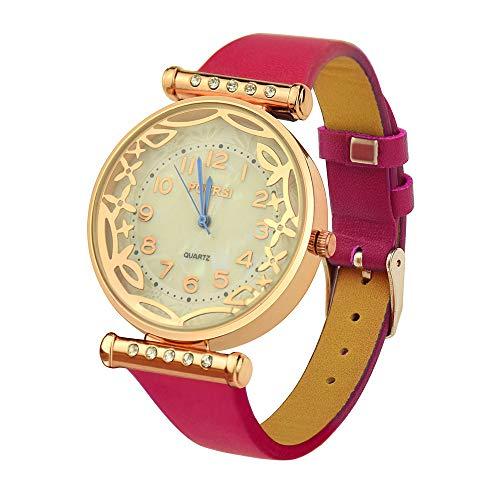 Damen Armbanduhr,Alaso Damenmode Trend Persönlichkeit Uhr Lederband Quarz Casual Paar Uhr