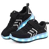 Chaussure Baskets Lumineuse Fille Garçon -7 Couleurs LED Lumière Chaussures Unisex Baskets Mode- USB Rechargeable - pour Adult Gamin (26, Noir)