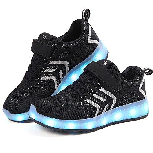 zicai LED Sportschuhe für Kinder USB Aufladen Blinkschuhe Jungen Sneakers Laufschuhe Turnschuhe Trainer Blinkschuhe Schuhe Für Mädchen 25-37 (31, schwarz)