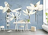 Yosot 3D Fototapeten Fototapeten Handgemalte Frische Retro Blumen Garten Wohnzimmer Tv Hintergrund Benutzerdefinierte Tapete 3D Wandbild-400cmx280cm