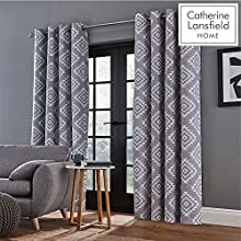 Catherine Lansfield Aztec Eyelet Curtains Silver, 66x90Inch