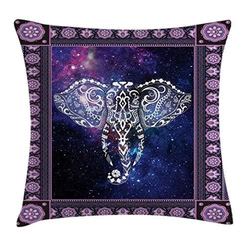 Koore - Funda de cojín con diseño de Elefante en un Marco sobre el Espacio Exterior, diseño de Estrellas de Andrómeda, 45,7 x 45,7 cm, Color Morado