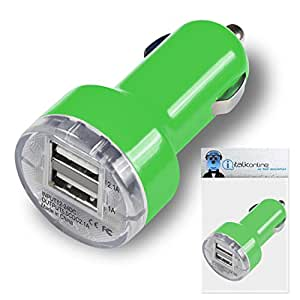 Green Dual 2.1 / 1 Amp [ 3.1A ] Compact Fast Charge 2 x USB Ports Car Charger Adapter For HipStreet Equinox 2 10.1-inch Tablet