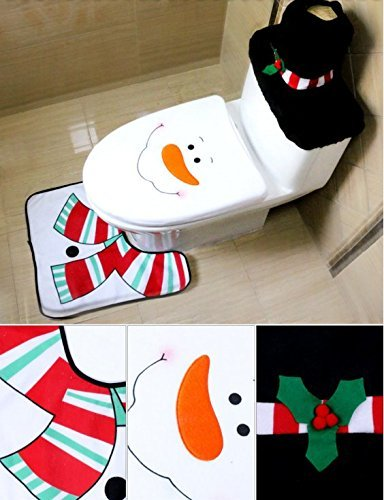 safeinu Liroyal Christmas decoration Santa toilet Set seat cover amp; rug amp; tissue box cover set Gift by safeinu