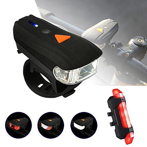 LED Fahrradbeleuchtung,JINGOU Lichtsensoren Radsport Lampensets,StVZO Zugelassen USB Wiederaufladbare Fahrradlampe Set,LED Frontlichter Frontlich und Rücklicht