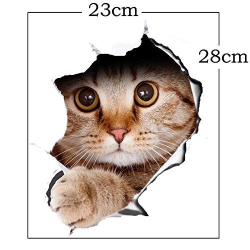 cravog Wandtattoo Badezimmer Loch View Vivid Katzen WC-Wohnzimmer Dekoration Tier Vinyl Aufkleber Art Aufkleber 3D Wall Poster PAPIER