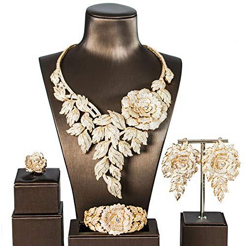 MKHDD Bräute Hochzeit Große Rose Blume Halskette Set Strass Zirkonia Dubai Nigerian Türkische Frauen Schmuck Set,Gold