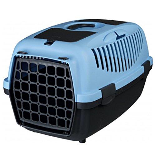 TRIXIE Transportbox Capri 1 & 2 Kunststoff mit Tragegriff für Hunde und Katzen (37 × 34 × 55 cm, dunkelgrau/pastellblau)
