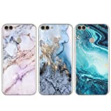 [3-Pack] Huawei P Smart Case - 3 Pcs Shockproof Ultra Thin Soft TPU Silicone Gel Marble Phone Case Slim Fit Flexible Covers Pack of 3 for Huawei P Smart 2018