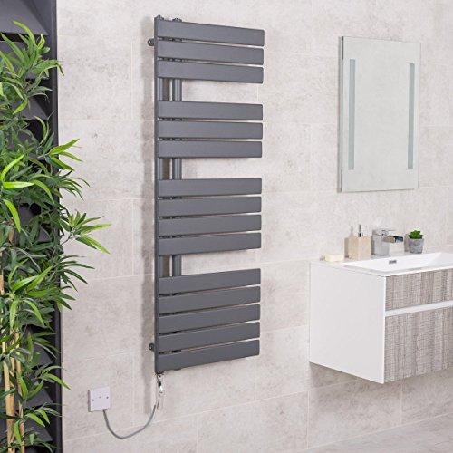 WarmeHaus Sèche-Serviettes électrique Mixte Design Kristiansund 745W - 1380 x 500mm Gris