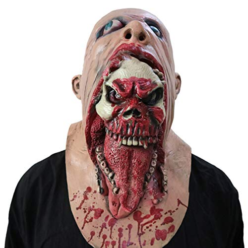 Scary Bloody Zombie Mask Schmelzendes Gesicht Adult Latex Kostüm Walking Dead für Halloween (rot)