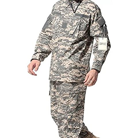 QMFIVE Tactical ACU Men BDU Combat Uniform Jacket Shirt & Trousers Suit Woodland Camo for War Game Army Military Paintball Airsoft Hunting Shooting (L)