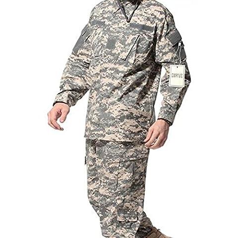 QMFIVE Tactical ACU Hommes BDU Combat Uniforme Veste T-shirt et Pantalon Suit Woodland Camo pour Guerre Guerre Armée Militaire Paintball Airsoft Hunting Shooting(L)