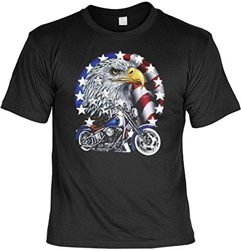 "geil bedrucktes Biker & Motorrad T-Shirt "" Bike with Eagle ! "" Schwarz"