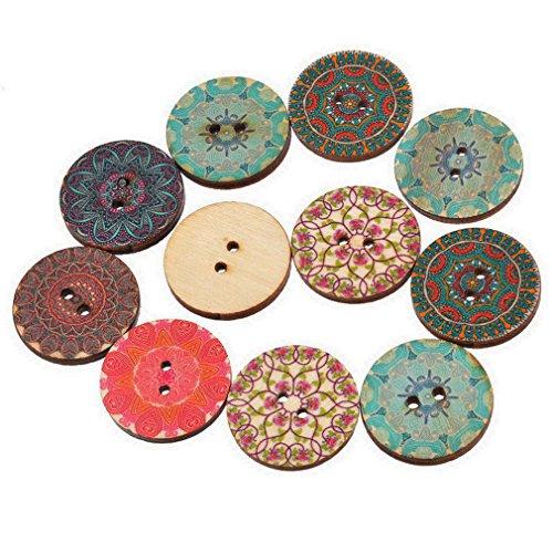 Pure al azar Souarts madera National tarros de canales de 2 agujeros de flores botones unidades 50 piezas