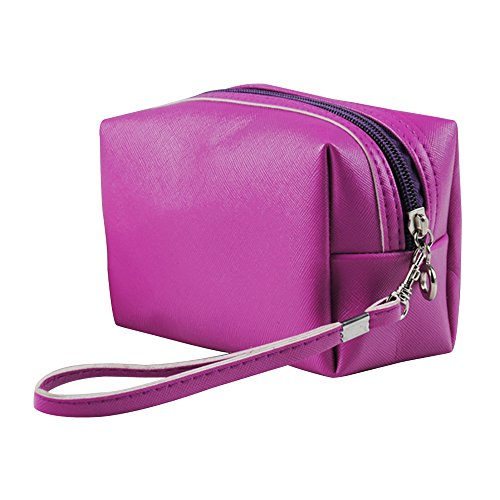 Contever® Doux PU Cosmetic Portable Maquillage Organizer Sac Housse main Zipper - Violet