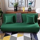 Lovehouse Hussen sofa-bett mit 3 kissen,Surefit sofa covers stretch, Schmutzabweisend rutschfest armlosen protector 3 sitze sofacouch für wohnzimmer -Grün 59-77in