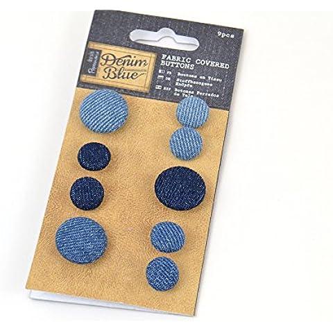 Papermania 9 piezas Tela botones con tapa, azul marino y