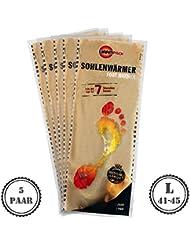 5pares cálido Pack Suela calentador L | agradable wärmepads | tejido de rizo suave y cojín de calor, 7horas Reconfortante térmica, 5unidades, tamaño L