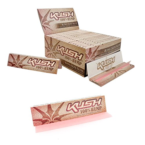 Kush 100% Hemp Pink King Size Slim Rolling Papers - Pink Cigarette Paper -  Best Value (5 Packs)