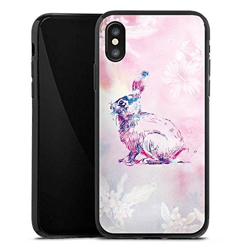 Apple iPhone X Silikon Hülle Case Schutzhülle Hase Häschen Bunny Silikon Case schwarz