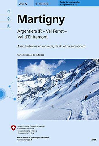 282S Martigny Carte de randonnées à raquette et à ski: Argentière (F) - Val Ferret - Val d'Entremont (Skitourenkarten 1:50 000)