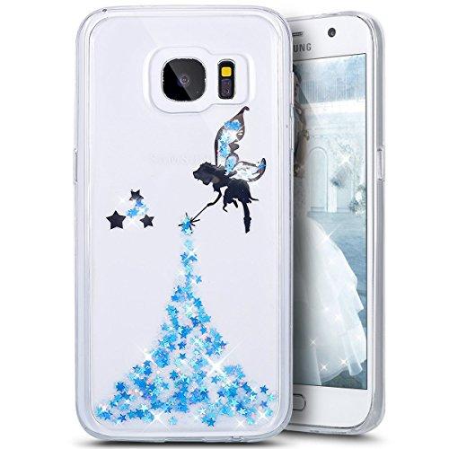 Coque Galaxy A3 2017,Surakey Glitter Paillette TPU Silicone Étui Housse Téléphone Couverture Brillant Cristal strass avec Ange Papillon motif Transparent Case pour Samsung Galaxy A3 2017, Bleu
