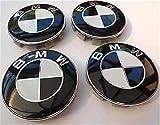 4x BMW SCHWARZ WEISS Logo 68mm Nabenkappen Nabendeckel Radkappen Felgendeckel Rad Vollständiger Satz Kappen Series 1 3 4 5 6 7 8 x1 X3 X4 X5 X6 Z3 Z4 36136783536 36131095361 36136768640 E36 E38 E39 E4 (black)