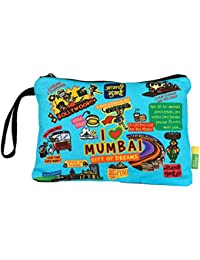Eco Corner - I Love Mumbai - Pouch - Big - 100% Cotton / Washable / Printed On Both Sides / Zip Closure With Carry...