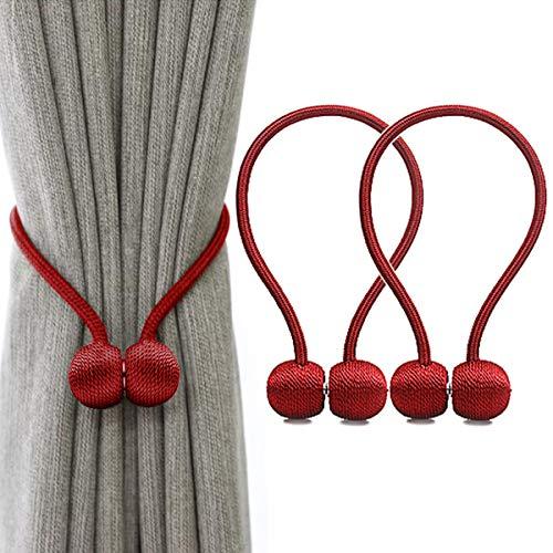 IHClink Magnetische Raffhalter zum Anklemmen von für Vorhänge, Krawatte Band Zuhause Büro Dekorative Vorhänge Weben Holdbacks Halter 2 Stück Rot (EU patent 004522746-0001) -