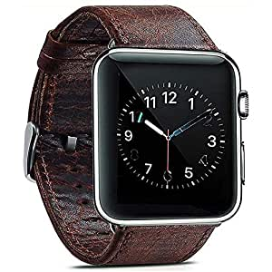 Café Digi 42mm/44mm Leather Watchband Strap for Apple I Watch Series 1 2 3 and 4 (Dark Brown)