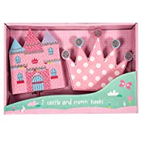 Castle Hook and Crown Hook Set of 2 Pink Princess Kids Children Coat Hangers