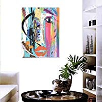 "Anyangeight Abstract Landscape Wall Stickers Woman Face Art Composition Paint Strokes Splashes Eye Red Lips Grungy Wall Stickers 24""x32"" Multicolor"