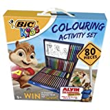 Bic Kids Colouring Activity Stationary Set 80 Pieces: 18x colouring pencils, 18x Extra clean colouring crayons, 12x Ultra washable colouring felt pens, 12x Felt Pens with Magic effects, 1x Washable glue stick
