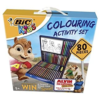 BIC – Lote de 80 unidades para colorear (18 lápices, 18 ceras, 12 rotuladores, 12 rotuladores con efectos mágicos, 1 pegamento lavable)
