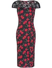 Pretty Kitty Fashion schwarz rot Kirschdruck Wiggle Kleid