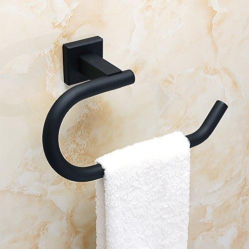 Sayayo Handtuchring Handtuchhalter Wand montiert, Edelstahl matt schwarz, EGK8010-B (Whitmor Korb)
