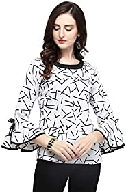 J B Fashion Printed Polyester Fabric Women Top with Full Sleeves for Fancy top,Stylish top, Casual Wear Top fo