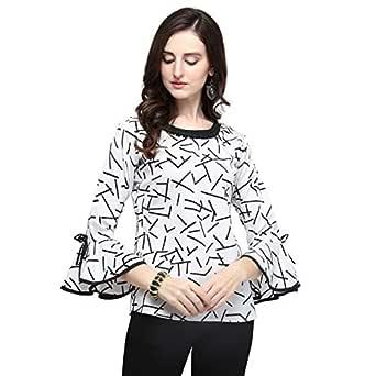 fmania J B Fashion Women's Polyester White Color Top(D-212-M)